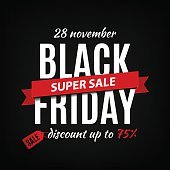 Black friday sale inscription design template. Black friday banner