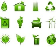 Environment and Recycle icons in green