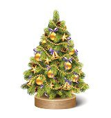 Festive Decoration Christmas Tree Pine On Wooden Stand Isolated