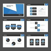 Black Blue multipurpose presentation Templates flat design set