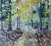 in summer forest, oil painting