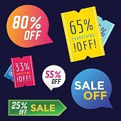 Sale Off vector tags label banner icons