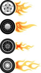 Wheels with flames