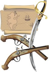 Pirate Dagger, Pistol and Map.