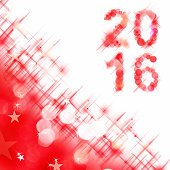 2016 square greeting card on red shiny holiday lights background