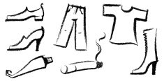 icon set with sketches of various objects