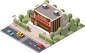 Vector isometric sushi restaurant