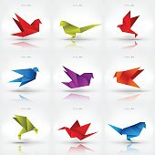 Origami paper bird on abstract background. Set