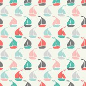 Sailboat shape seamless pattern. illustration for marine design