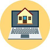 Online Real Estate Colored Vector Illustration