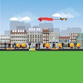 Detailed Flat design urban landscape illustration