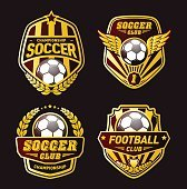 Various Soccer Ball and Football Emblems