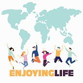 Group of happy young people jumping on world map background