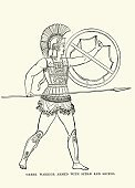 Ancient Greek Warrior armed with Spear and Shield