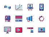 Video blogging flat color vector icons