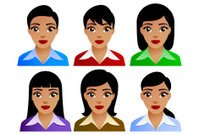 Business woman with six different hairstyles