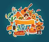 Vector set of stylized Mexico elements and icons