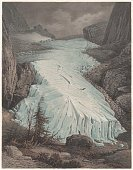 Rosenlaui Glacier by German painter Carl Rorbach, published in 1861