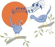 Cartoon Birds - Bluebirds Singing in the Morning