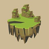 Cartoon Stone Grassy Isometric Island for Game, Vector Illustration