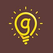 G letter with light bulb or idea icon.