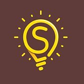 S letter with light bulb or idea icon.