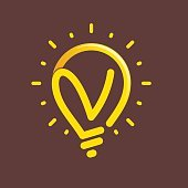 V letter with light bulb or idea icon.