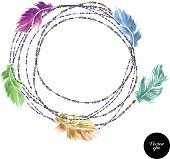 Vector watercolor feather decorative background