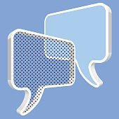 Speech bubbles in 3d perspective dots on a blue background.