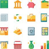 Finance and marketing vector icons set flat style