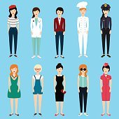 Set of colorful profession woman flat style: businesswoman, doct
