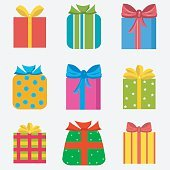 Set of nine colorful of different gift  boxes