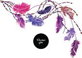 Vector watercolor feather corner decoration
