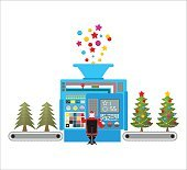 Factory machine for release of beautiful Christmas trees. Tree f