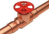 Red valve on copper pipe diagonal view