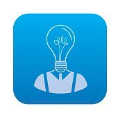Light bulb human icon on blue button,vector