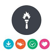 Torch flame sign icon. Fire symbol