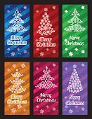 Merry Christmas vector banner vertical set with ornament snowflake pine