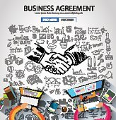 Business Agreement concept wih Doodle design style