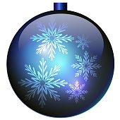 Blue Christmas ball with snowflakes.