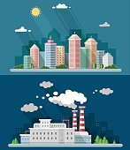 Urban landscape illustrations including downtown, suburb and industrial landscapes