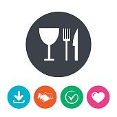 Eat sign icon. Knife, fork and wineglass