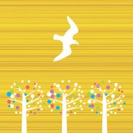 Wonderful World peace bird Dove flying over fruit trees illustra