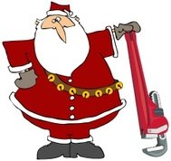 Santa With A Giant Pipe Wrench