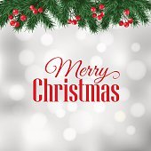 Christmas greeting card with fir tree branches and berries border