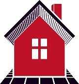 Simple village mansion icon, vector abstract house. Home