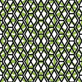 Green endless pattern with zigzag black lines, vivid