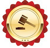 Justice seal or icon with hammer symbol