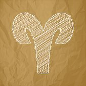 Aries HOROSCOPE SIGNS ZODIAC - Scribble on a brown background.