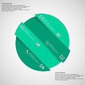 Infographic template with green circle askew divided to four parts